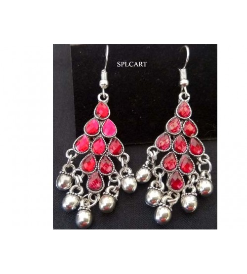 SILVER DIAMOND SHAPE EARRINGS PINK STONES WITH GUNGROO