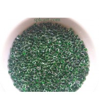 SILVER LINED SEED BEADS GREEN COLOR 4MM PACK OF 10 GRAMS