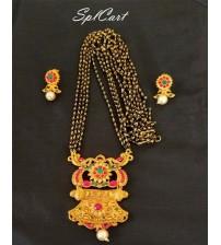 Splcart Mangalsuthra Chain With Matte Pendant Set
