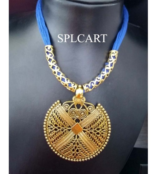 Splcart Cotton Dori With Antique Round Pendant Neckset (Blue)